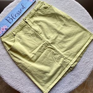 CJ Banks Stretch Denim Skirt Lime Green Size 20W